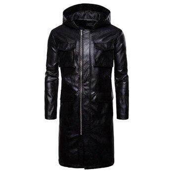 Men Fashion Hooded Long Windbreaker Jacket England Style Pockets Leather Jackets Male Coat Europe/US Size Newest Leather Jacket