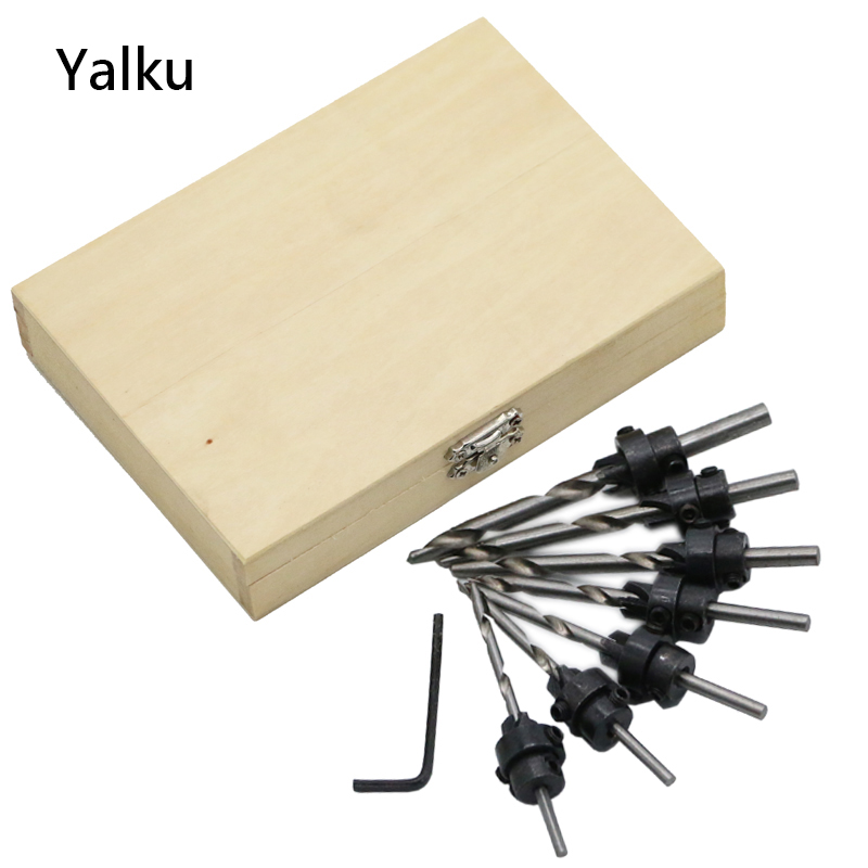 Yalku Countersink Drill Woodworking Screw Drill Bit Set Power Tool Set Wood Drilling 5/8pcs Cone Drill Bits Metal Tool Kit 1 4 magnetic hex shank drywall screw bit holder dimpler drilling screw tool 60mm electric drill screw adapter