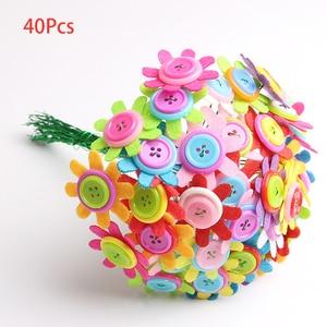 Image 5 - DIY ремесло, домашнее украшение, Детские войлочные лепестки, образовательный букет, детский сад, детская игрушка, кнопка, цветочный набор, случайный цвет