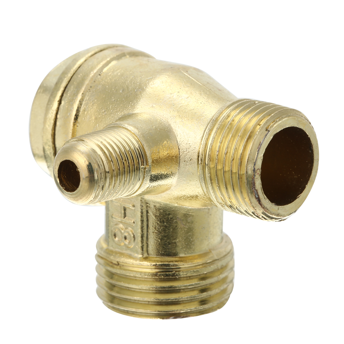 1pc 3-Port Aluminum Alloy Male Threaded Check Valve Connector Cast Iron 4.1cmx3.87cm For Air Compressor