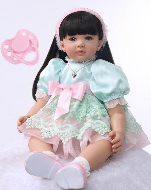 60 cm Silicone Reborn Bébé Poupée Jouets Princesse Douce Enfant En Bas Âge Bébés Beau Cadeau D'anniversaire Filles Brinquedos