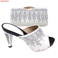doershow beautiful white Shoe and Bag Sets Italian Shoes and Bags Set for party African Matching Shoes and Bags! SXS1 4