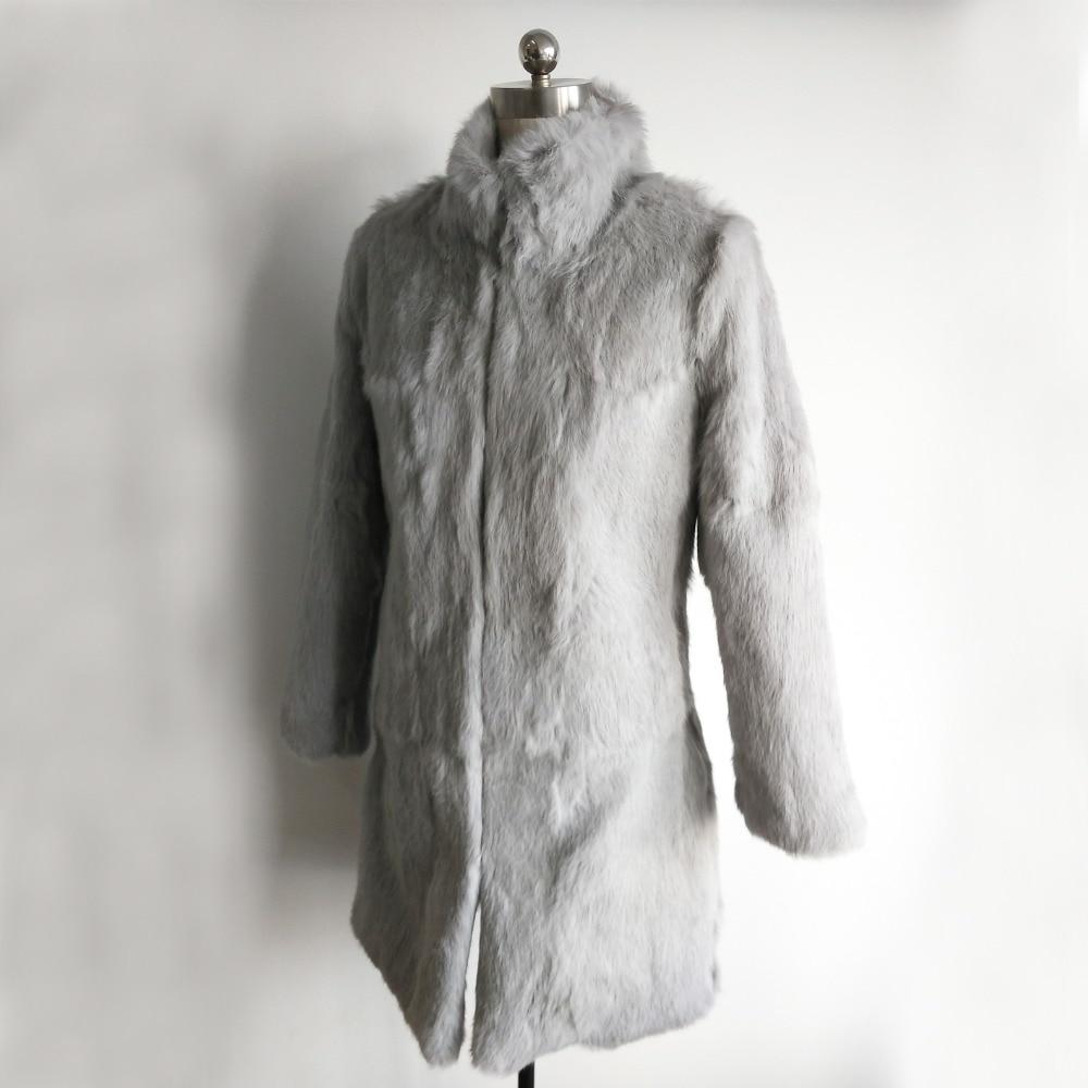 Новинка 2019 женская шуба из 100% натурального кроличьего меха куртка Фабричный