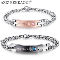 Drop Shipping Unique Gift For Lover His Doe Her Buck Couple Bracelets Stainless Steel Bracelets For