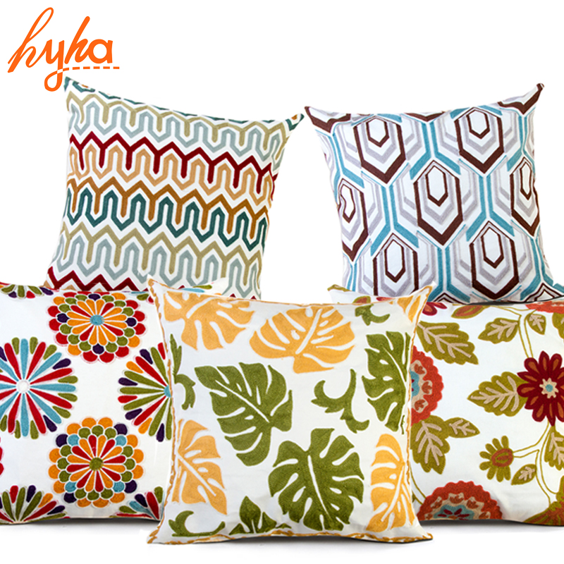 Hyha Embroidery Cotton Cushion Cover High Quality Bohemian Floral Geometric Brand Pillow Case Home Decorative Pillows