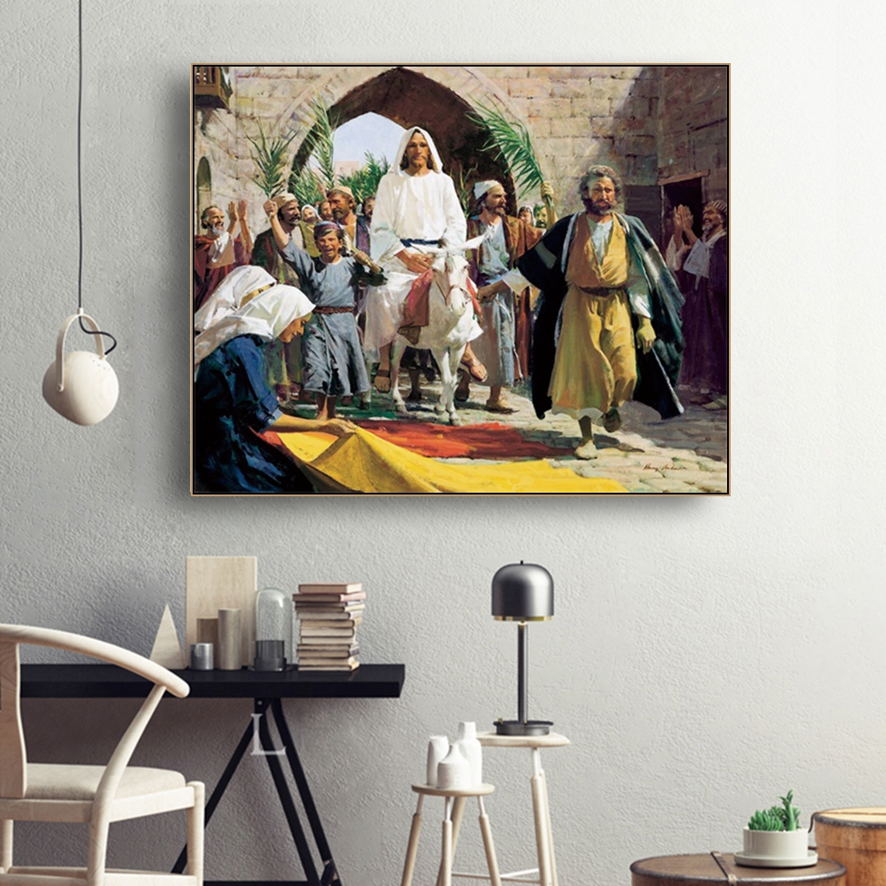 Laeacco Palm Sunday Wall Artwork Classic Religion Posters and Prints Canvas Painting Nordic Home Decoration Living Room Decor