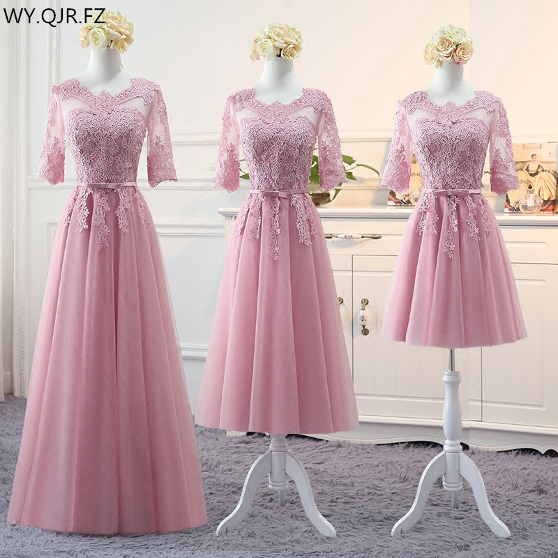 MNZ813#Cameo brown long medium short pink Appliques 2018 spring lace up   Bridesmaid     Dresses   wedding prom party toast   dress