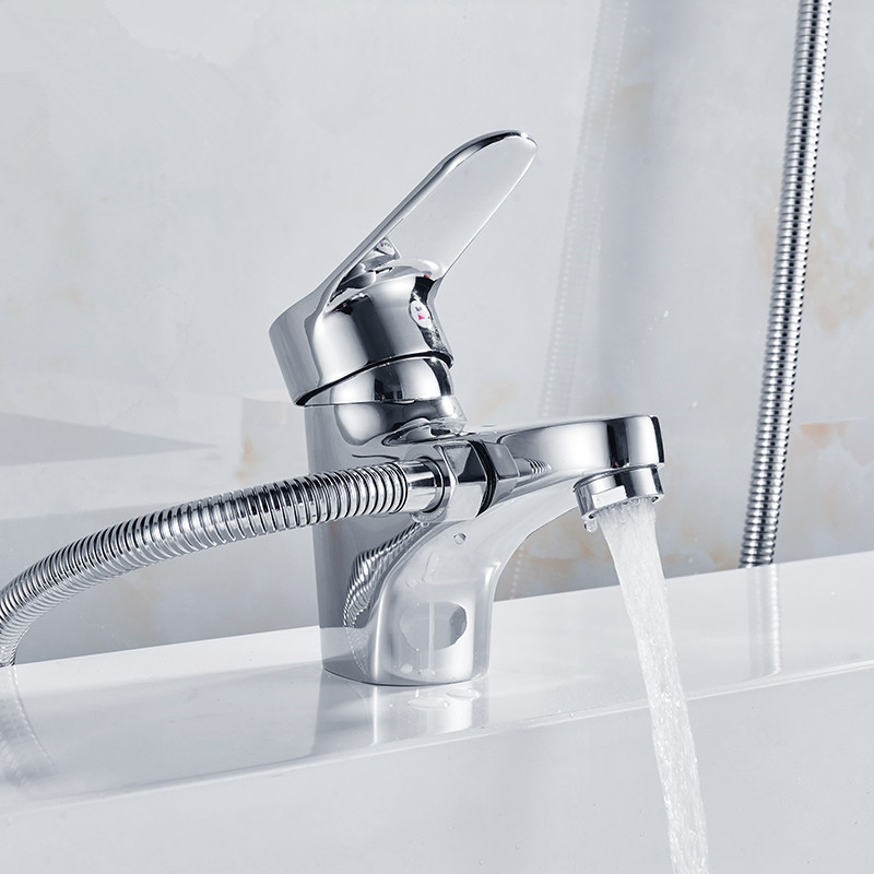 Chrome Brass Shower Set Hot and Cold Mixer faucet , Double Handle Shower Deck Mounted Bathtub Faucet Shower Set Free Shipping