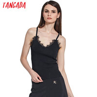 Tangada Fashion Women Knitted Tank Tops Vintage Sleeveless Lace V-neck Knitted Tank Casual Summer Brand Faminina Tops YU2
