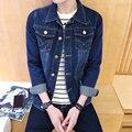 2016 Novos Chegada da Alta Moda Casual Slim Fit Manga Comprida Único Breasted Jaqueta Azul Denim Jeanswear Boa Qualidade Frete grátis