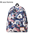 Mr .Ace Homme Women Pattern Polyertser Backpack Printing Lady Casual Travel Backpacks Vintage School Shoulder Bag
