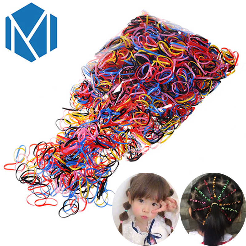 2000pcs/pack Children Girls Rubber Bands Colorful Ponytail Holder Scrunchy Disposable Kids Elastic Hair Bands Hair Accessories
