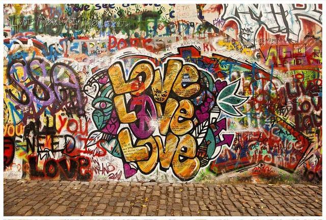3d Wallpaper Custom Murals For Walls 3 D Retro LOVE Street Graffiti Wall Landscape