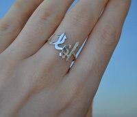925 Sterling Silver Arabski Arabski Listy Nazwa Tabliczka Znamionowa Cienki Pierścień Pierścień Spersonalizowane Zwyczaj Jewlery Kobiety Mody
