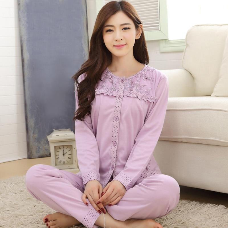 Pajamas Sets Women Cotton Blend Pajamas for Women Casual Long Sleeve Sleepwear Suit 2 Pieces Spring