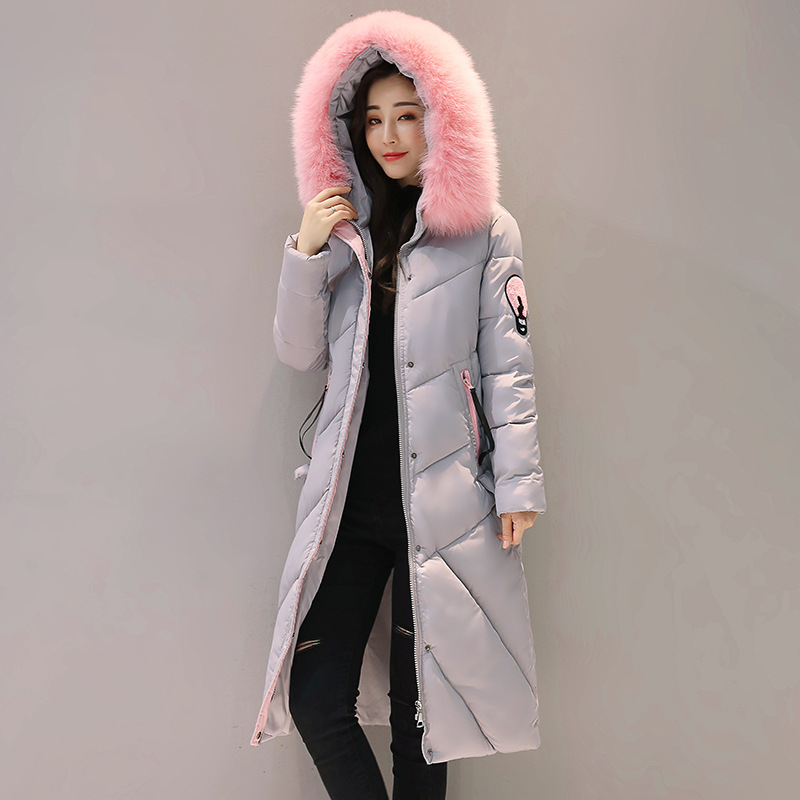 2017 New Fashion Winter Parkas Slim Hooded Fur Collar Embroidery  Pattens Warm Jacket Cotton Padded Coat Female Long Outwears 2017 women winter jacket new fashion cotton padded long hooded coat parkas female wadded outwear fur collar slim warm parkas
