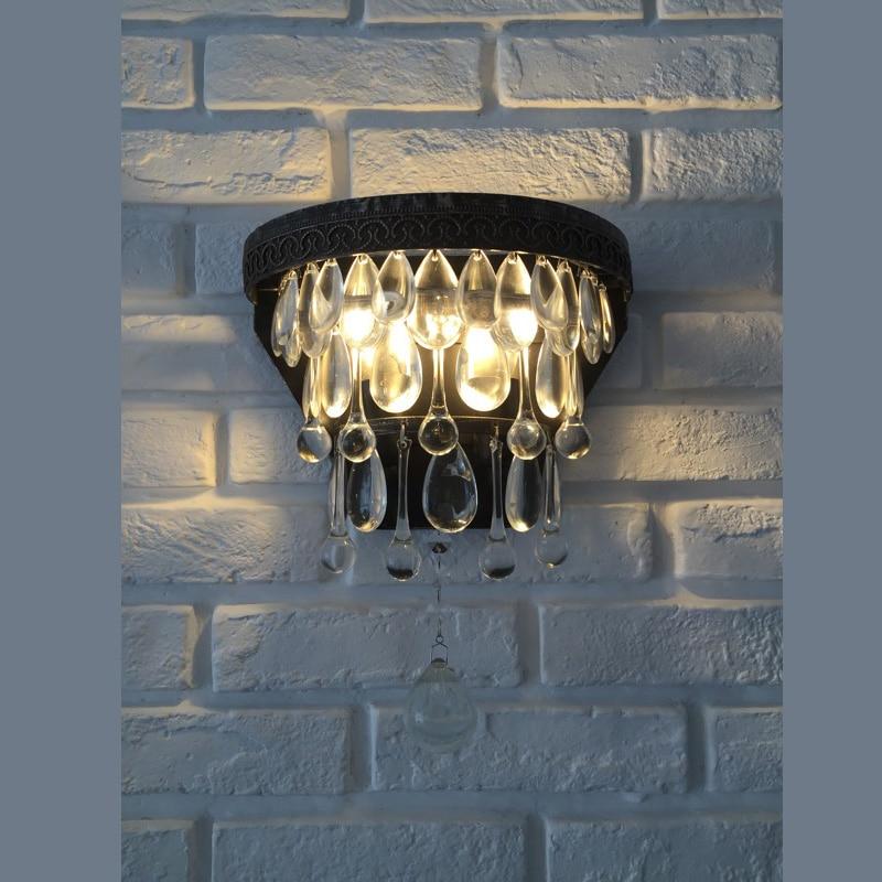 Obývací pokoj Velká kapka křišťálové nástěnné lampy Americká železná křišťálová lampa Retro kreativní veranda Koridorová lampa Ulička Retro Nástěnná světla