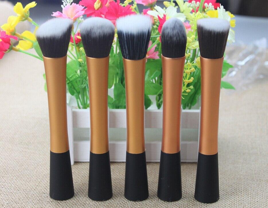 High Quality 5 pieces Super soft Taklon hair  makeup brush set golden makeup kabuki brush kit gold make up kabuki kiit