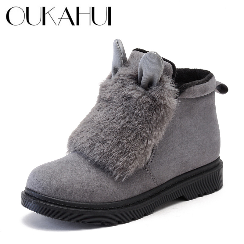 OUKAHUI Winter Martin Boots Women Keep Warm Puffer Ball Flat Ankle Boots For Women With Rabbit Ears Flock Leather Short Boots