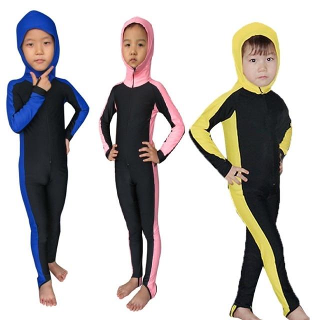 0c5d14cf23 SBART Anti-UV Wetsuit Kids Lycra Hooded Long Sleeve one piece Suit Full  Body Swimwear