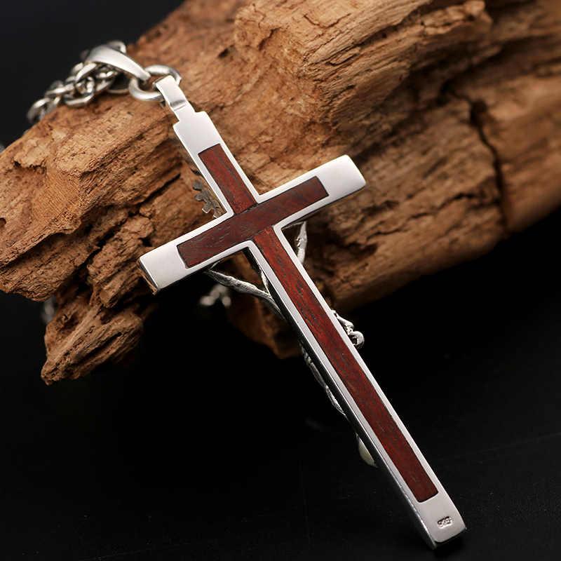 1d6871cd4aab ... ZABRA Real Solid 925 Sterling Silver 7cm Jesus Cross Pendant Vintage  Retro Religion Handmade Gift for ...