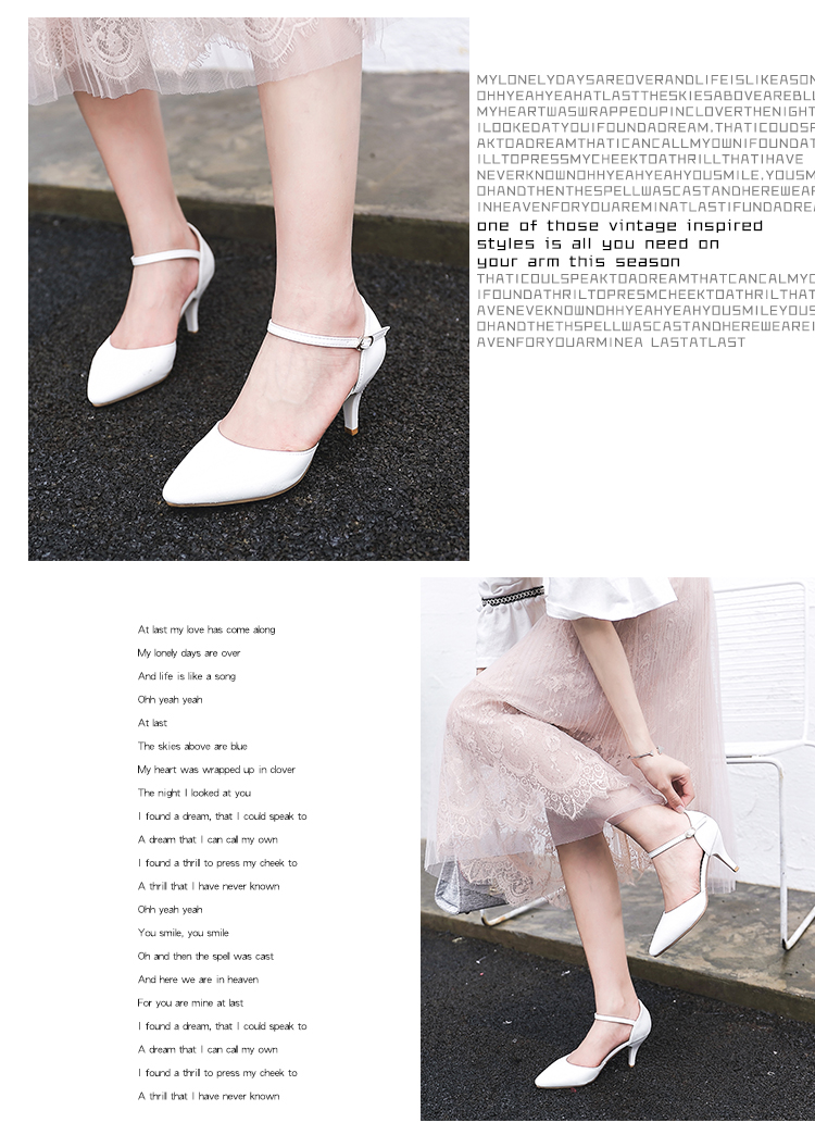 YALNN Spring Summer Basic Women Pumps Shoes Shallow Buckle Strap Thin Heels Pointed Toe for Leisure Office Career Shoes Women 9