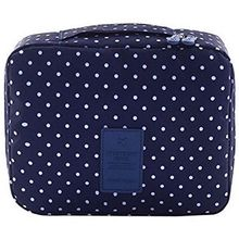NEW-Travel Cosmetic Bag Printed Multifunction Portable Toiletry Makeup Pouch Case Organizer for Travel (Navy Circ