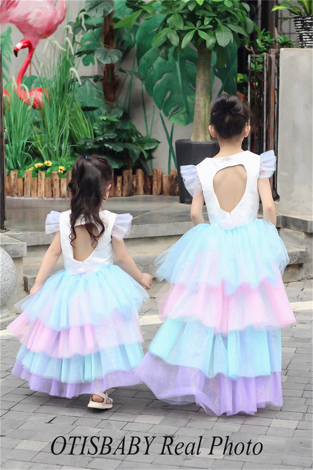 Christmas Girls Unicorn Dress with Long Tail + Wings Wig Hairband Baby Girl Princess Birthday Party Ball Gown Kids Horse Clothes 4