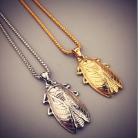 Punk Forest Cicada Pendant 70cm Bling Franco Link Chain Hip Hop Titanium Steel Gold Charm Necklace