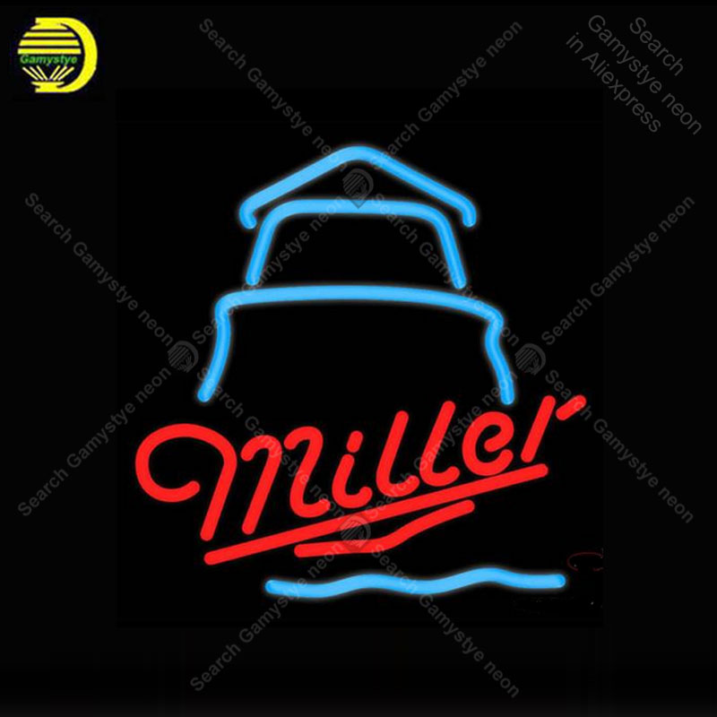 Miller Day Lighthouse Neon Sign neon lamp GLASS Tube BEER BAR Pub Store Display Handcraft Iconic Sign personalized cool sign