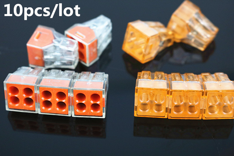 10Pcs/lot PCT-104 PCT104 773-104 Push wire wiring connector For Junction box 4 pin conductor terminal block wire connector 50pcs pct 102 wago 773 102 push wire connector 2 pin conductor terminal block cable connector