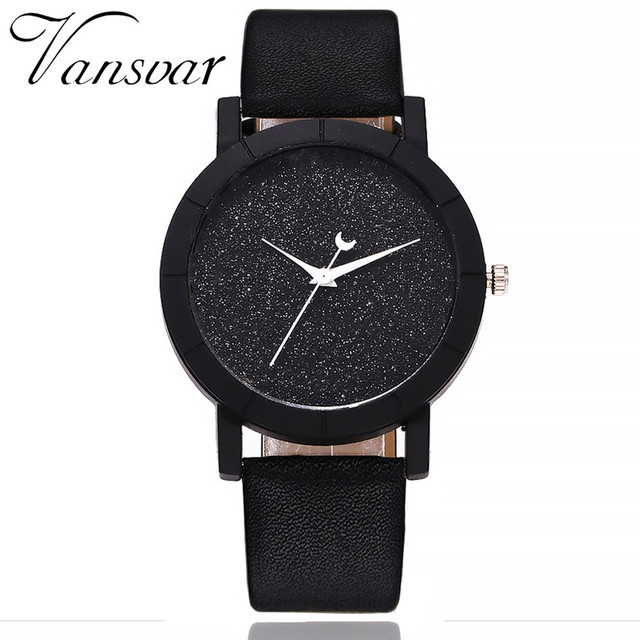 Vansvar Starry Fashion Pointers Of The Watch Women's Watch Sequins Moon Leather