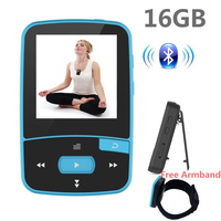 Bluetooth MP4 Player 16GB Clip Sport Sweatproof Lossless Audio Player With FM Radio Pedometer And Bookmark