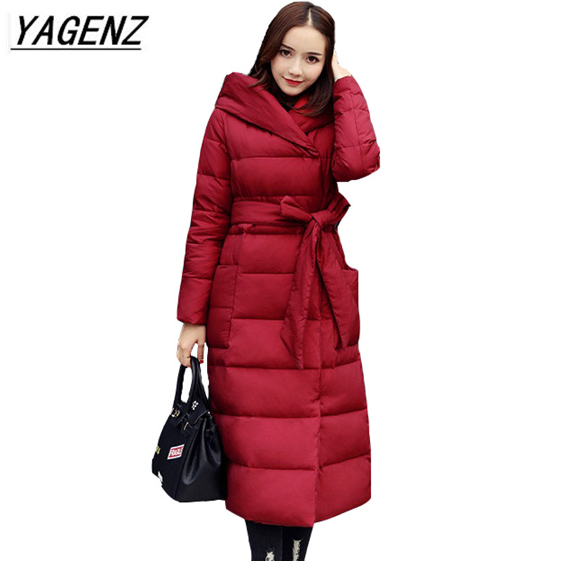 Winter New Women Long Down Cotton Jacket 2018 High Quality Loose Warm Cotton Outerwear Fashion Hooded Exquisite Overcoat B151  2016 new high quality brand men winter cotton down jacket coat parka clothing men and women hooded warm outerwear overcoat