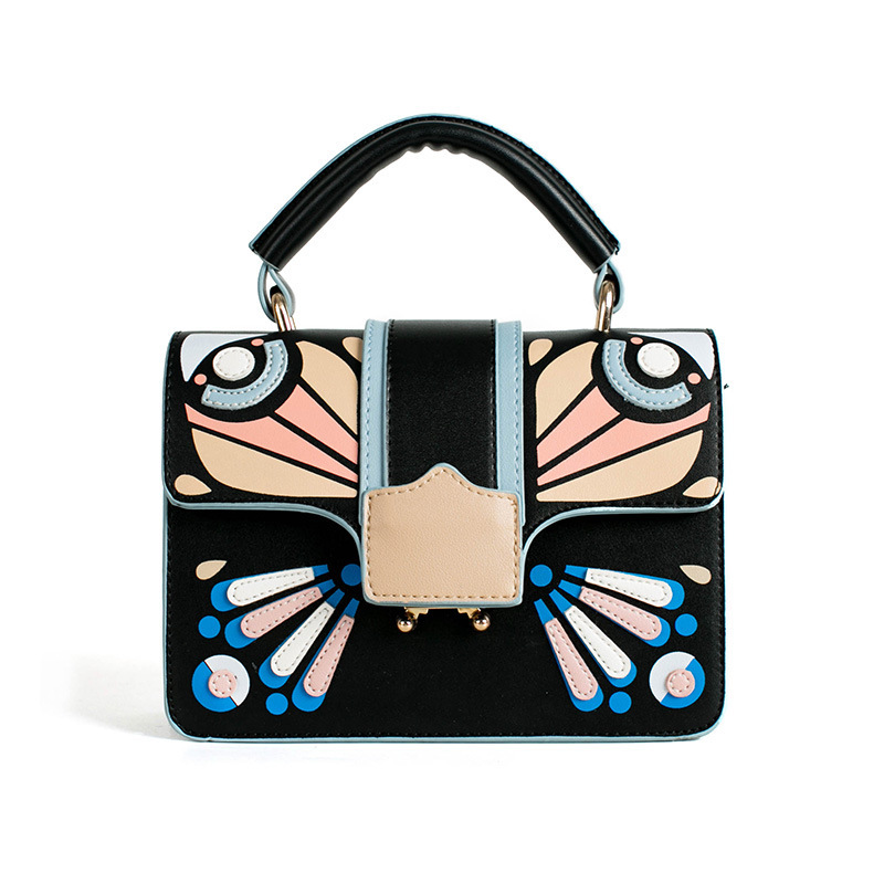 2018 new handbag female mosaic butterfly pattern square package fashion simple Messenger bag tide