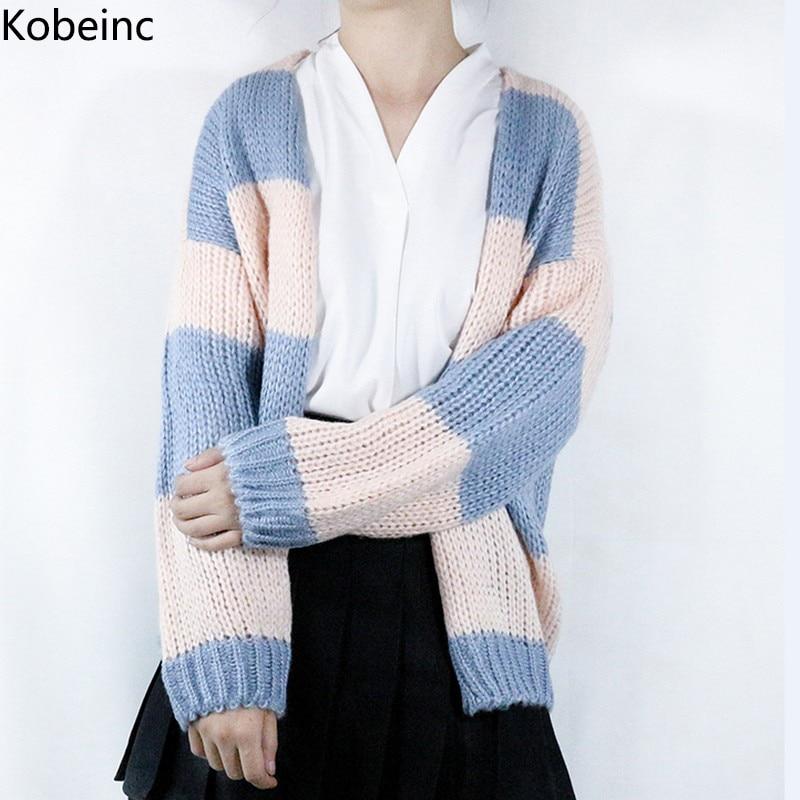 Kobeinc Women Loose Striped Cardigans Sweater Puff Long ...