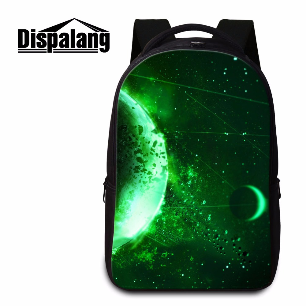 Dispalang universe galaxy fashionable girls laptop bag 17 inch computer backpack for teens boys campus casual student bag green цена 2016