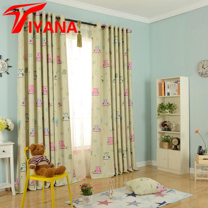 Cartoon Owl Printed Design Curtains For Kids Children Blue Thick Blackout  Curtains For The Bedroom Window