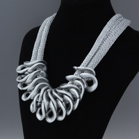 7 Colors Plastic Grid Statement Silver Big Necklaces Maxi K Pop Hip Hop Punk Jewelry Exaggerated