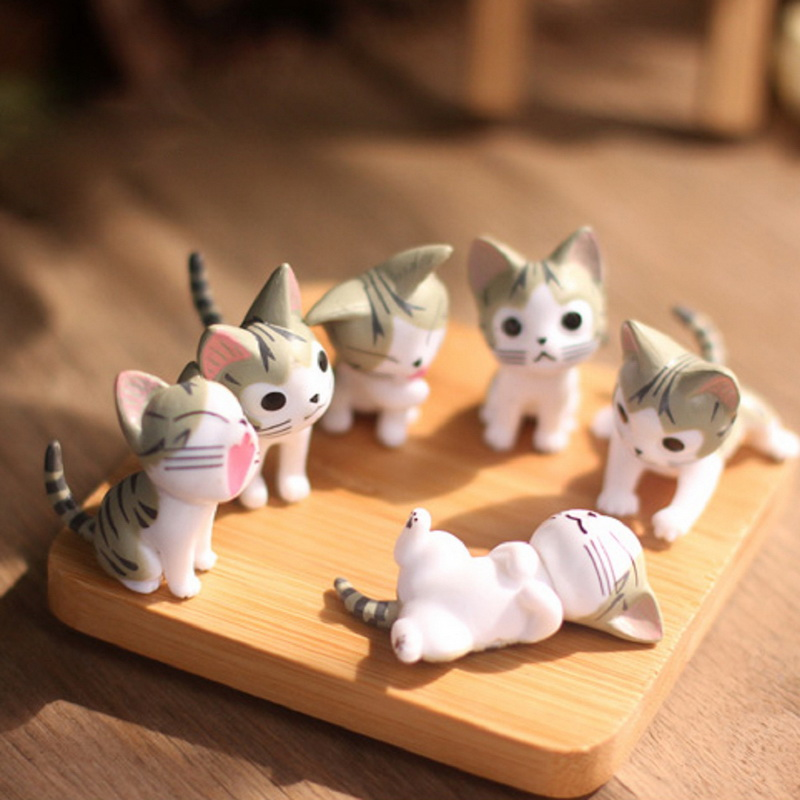 6pcs Lot Cheese Cat Miniature Figurines Toys Cute Lovely