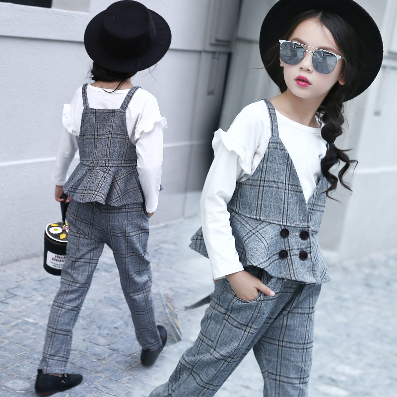 New 2017 Kids Autumn Tow Pieces Set Children Vest Pants Girls Waistcoat Plaid Pants Toddler Tops Trousers,3-14Y,#2271 pepe jeans