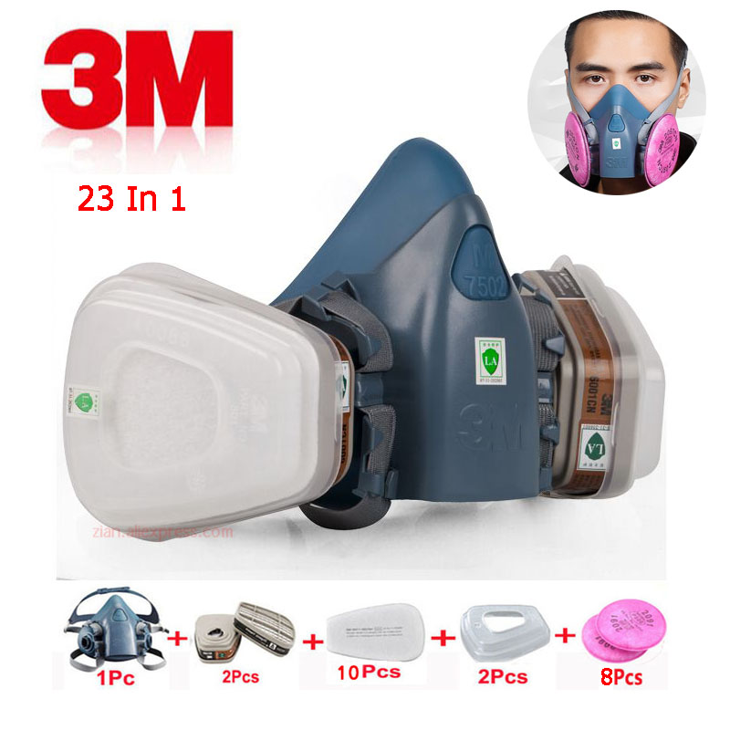 23 in 1 suit 3M7502 mask for chemical industrial respiratory painting organic gas protection with 6001 organic filter cartridge23 in 1 suit 3M7502 mask for chemical industrial respiratory painting organic gas protection with 6001 organic filter cartridge