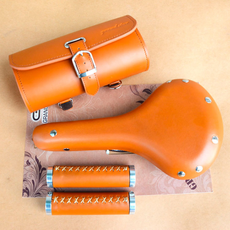 Taiwan original authentic high end  real cow leather 3 in 1 set fixed gear road bicycle bag grip saddle лупа bao workers in taiwan ma 1003mf 3d 12