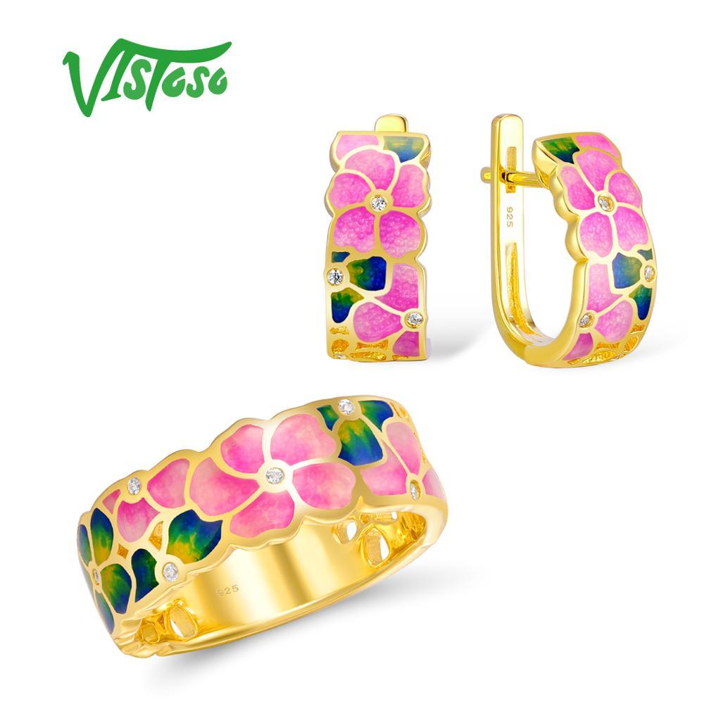 VISTOSO комплект ювелирных изделий ручной работы разноцветной эмалью белый камень CZ цветок кольцо серьги 925 серебро Для женщин Модные украшени...