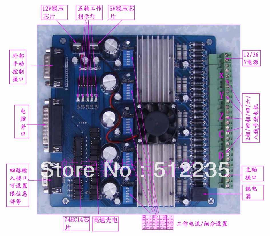 5-axis engraving machine stepper motor 3.5A 16 segments TB6560  driver board motor driver cnc tb6560 4 axis stepper controller board for engraving machine