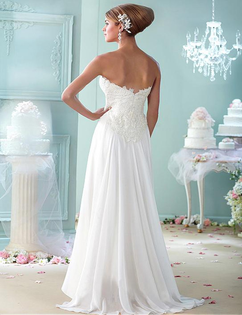 White Wedding Dresses 2018 Maternity Women Beach Chiffon with Lace ...