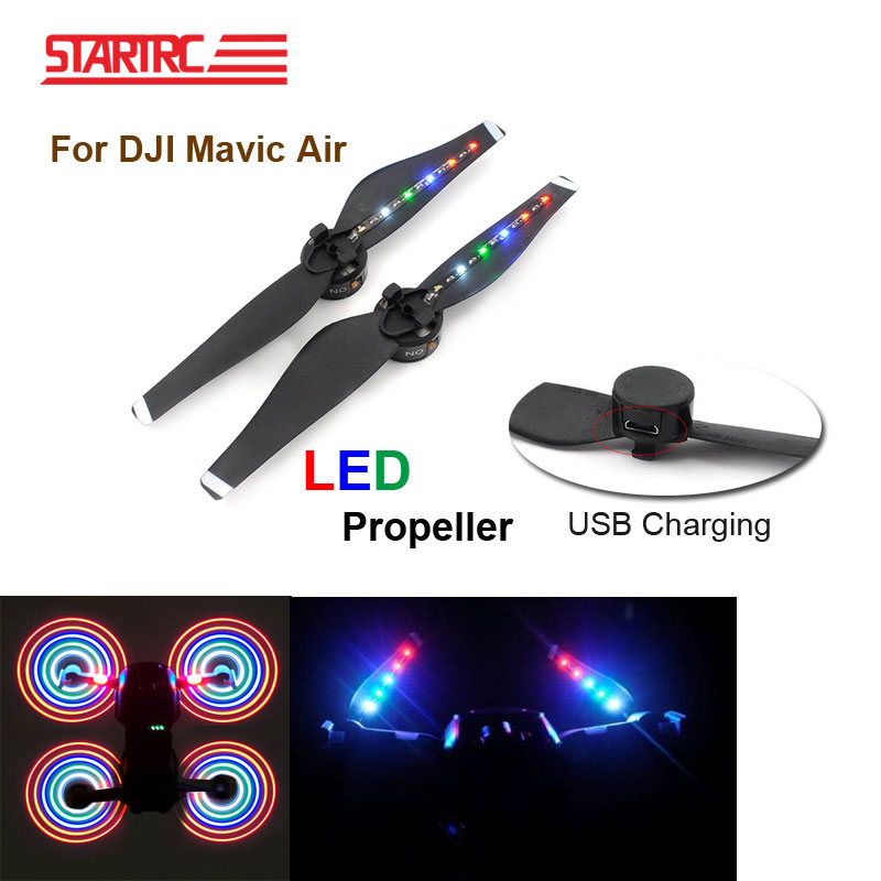 New arrival 2 pair DJI Mavic Air propellers With LED Charging Flash USB Charger Propellers For