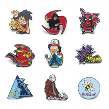 V107 Deadpool and Friday the 13th Metal Enamel Pins and Brooches Fashion Lapel Pin Backpack Bags Badge Collection Gifts 1pcs v134 home alone metal enamel pins and brooches fashion lapel pin backpack bags badge collection gifts