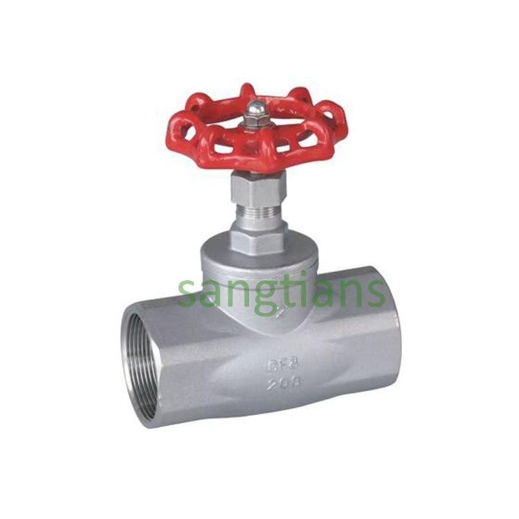 Vanne sphérique filetée   Vanne à coupure Standard américaine, vanne darrêt en acier inoxydable, DN25 SS304,