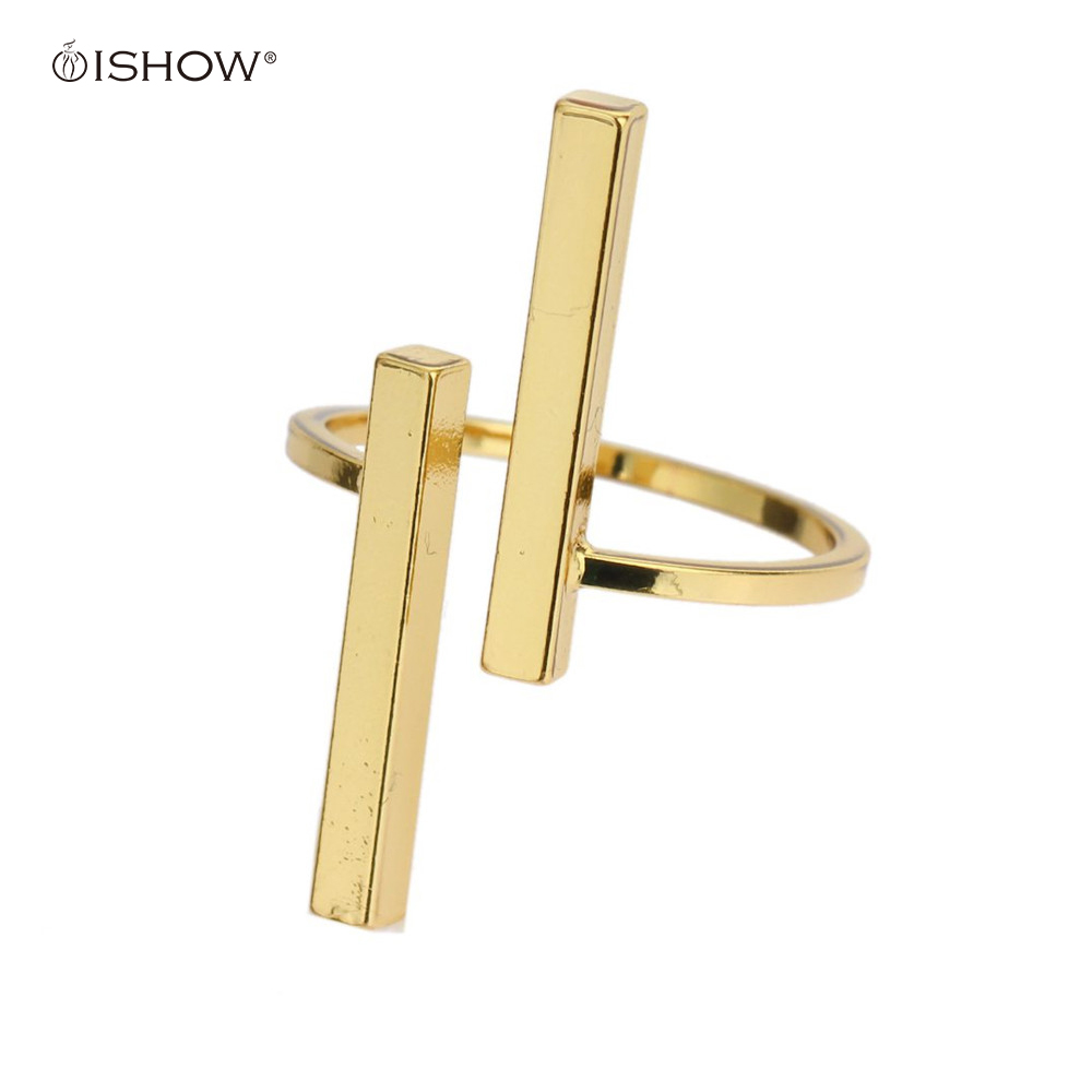 New Women Men Ring Silvery Golden Uneven Bars Double Open T Dainty Adjustable Gold Color Jewelry Minimalist Anello taki